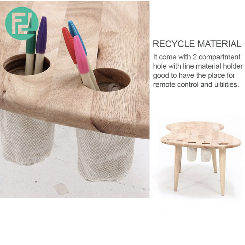 Foot Shaped Solid Wood Coffee Table With Holder Building
