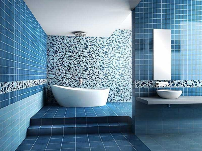 Blue green bathroom
